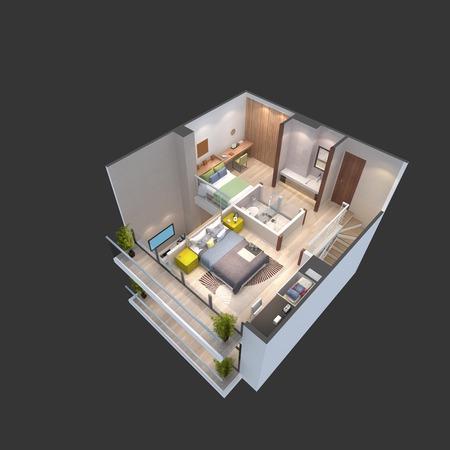 penthouse: 3d illustration of a penthouse floor plan Stock Photo