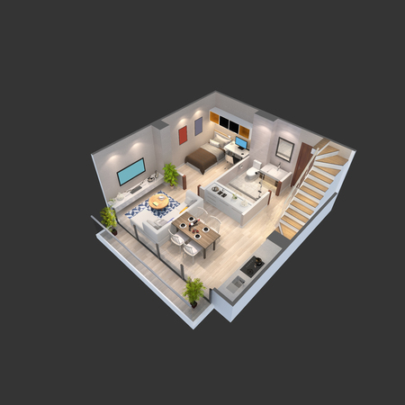 penthouse: 3d illustration of a penthouse isometric plan Stock Photo