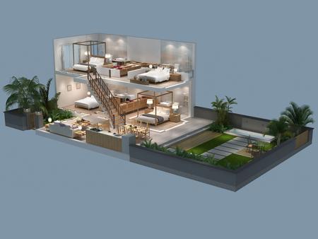 villa: 3d illustration of isometric villa plan