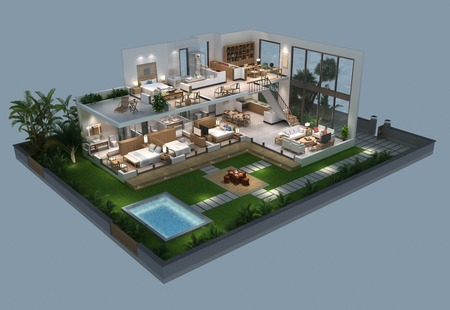 3d illustration of isometric villa plan
