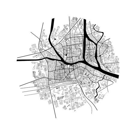 3d illustration of city topography in black and white