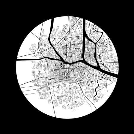 urban planning: 3d illustration of city topography in black and white