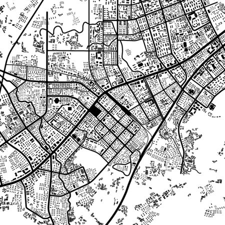 urban planning: 3d illustration of city topography in black & white Stock Photo