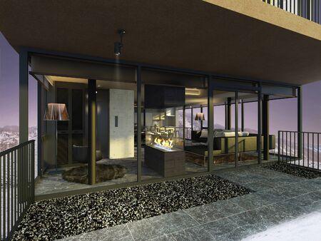 fenced: 3D illustration of a modern room
