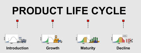 The vector banner of product life cycle topic. With 4 stages of product life.  Creative flat design for web banner and business presentation.