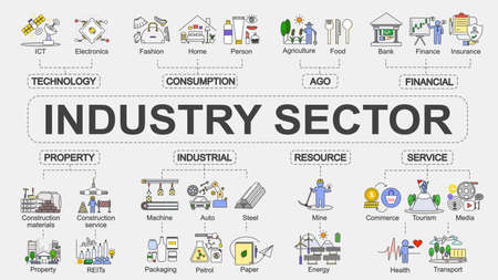 Vector chart banner of industry sector concept, With flat design infographic of various segment of business.