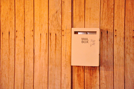 formatting: Mailbox on a wooden door Stock Photo