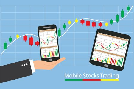 Concept of inforgraphic trading stock market growing for management design, analysis, business and investment.