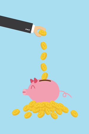 Money savings in pink piggy with gold coin icon. Standard-Bild - 116849252