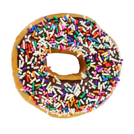 Doughnut with sprinkles isolated on white background. Standard-Bild