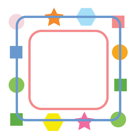 Cute colorful square frame isolated on white background for web design, abstract, wall, presentation, vector illustration Eps 10.