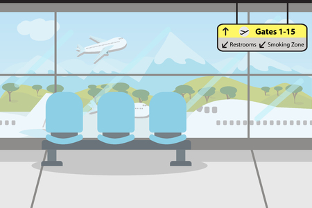 Enjoy your holiday travel trip around the world at airport terminal - vector illustration Eps 10.