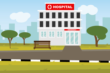 The  professional medical center for health life concept with cartoon, anime and background  - vector illustration Eps 10. 일러스트