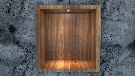 downlight: Empty wood shelf with down-light on concrete wall.
