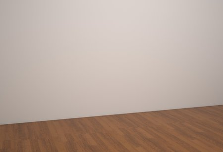 tilted: Empty room wood floor and white wallpaper in tilted viewpoint.