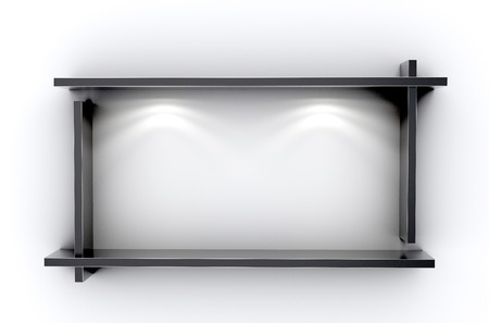 ibook: 3D illustration , Empty rectangle black shelves on white background,empty shelves top ready for product display montage