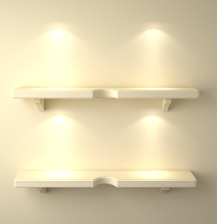 downlight: 3D illustration , Empty yellow shelves on background with down-light Stock Photo