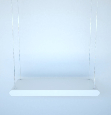 3D illustration , White shelves and sling on white background,empty shelves top ready for product display montag