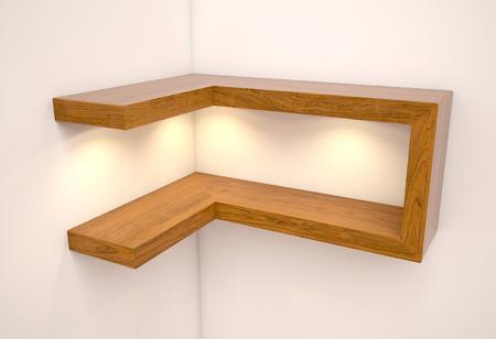 muebles de madera: Ilustración 3D, estantes vacíos Extracto de madera en el fondo blanco con los pies en la luz
