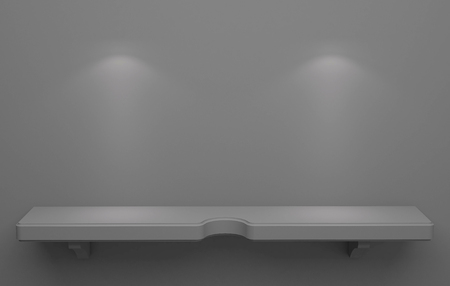 downlight: 3D illustration , Empty gray shelves on background with down-light