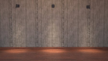 downlight: Concrete wall with 3 Down-Light. Stock Photo