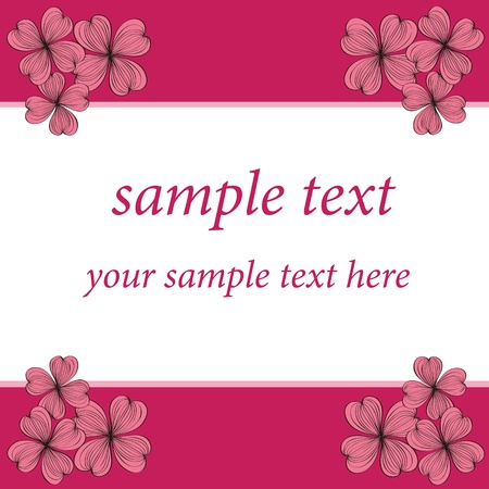 Pink flower card pattern design,vector Vector