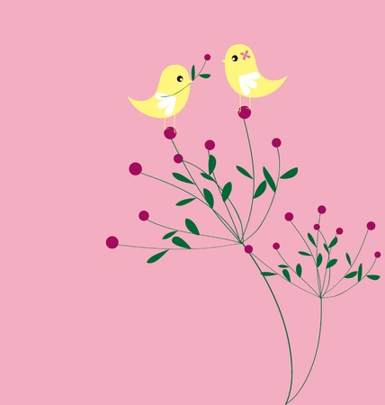 Bird and flower card pattern design Vector