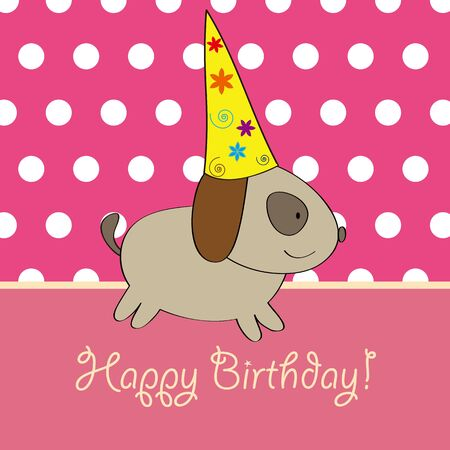 Puppy birthday card design Vector