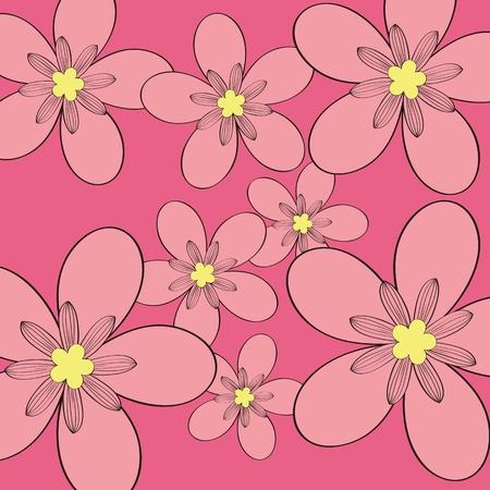 Seamless pink flower pattern background,vector