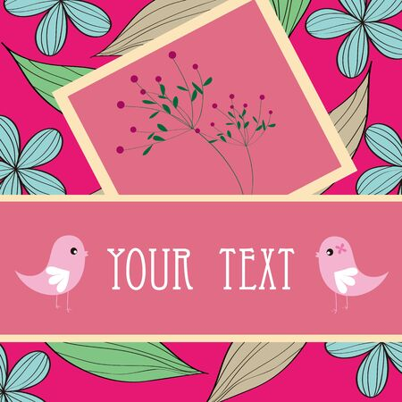 Two birds and flower card pattern design Vector