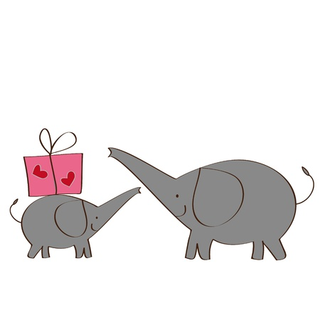 Two elephants and gift Vector
