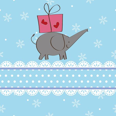 Elephant and gift Christmas card design,vector Vector