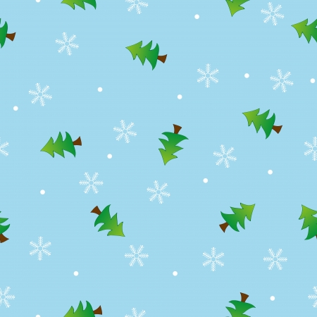 Seamless snowflake and tree pattern blue background,vector Vector