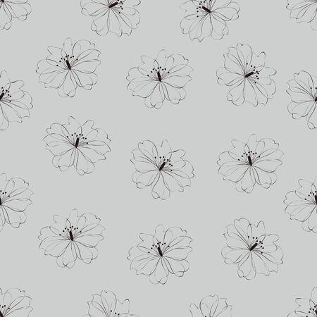 Seamless flower pattern on gray background Vector