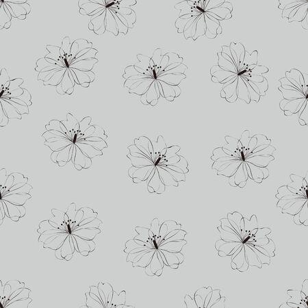 azal�e: Seamless motif floral sur fond gris