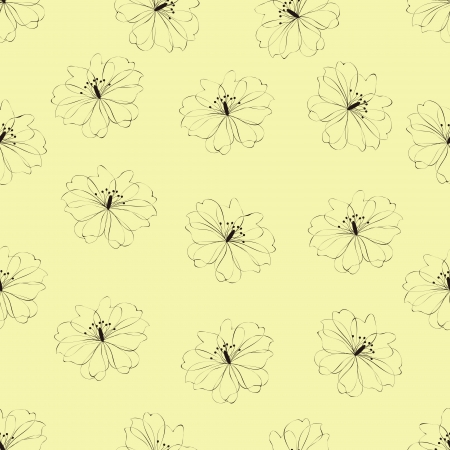 Seamless flower pattern on yellow background,vector Vector