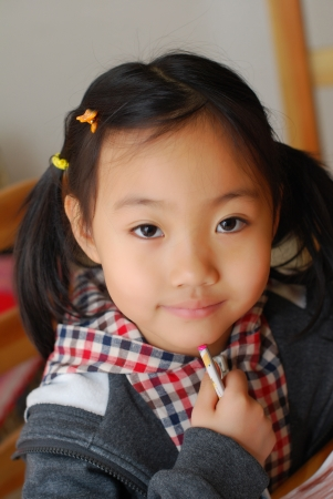 chinese culture: Asian little girl Stock Photo