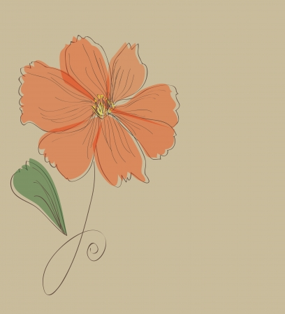 azalea: Orange flower card pattern Illustration