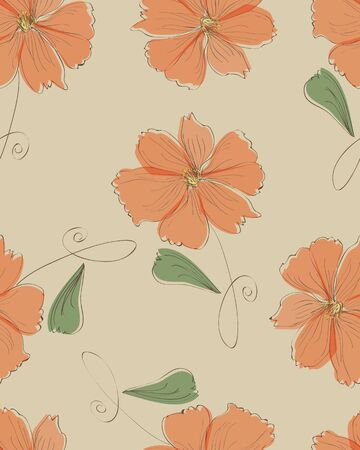 azalea: Seamless orange flower pattern,vector Illustration