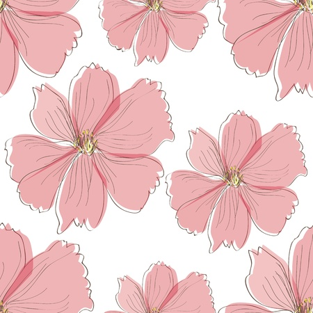 Seamless pink flower pattern,vector Vector