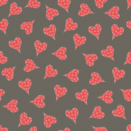 Seamless heart-shaped snowflake pattern,vector Stock Vector - 17374088