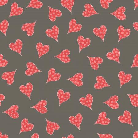 heartshaped: Seamless heart-shaped snowflake pattern,vector