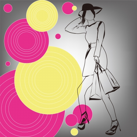 Fashion woman silhouette, vector Vector