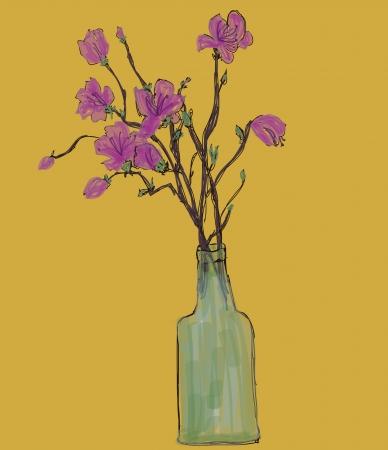 azal�e: Fleur dessin � la main en bouteille, vecteur