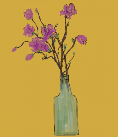 azalea: Hand drawing flower in bottle,vector Illustration