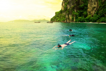 Snorkeling at Phi Phi Island, Phuket, Thailand  photo