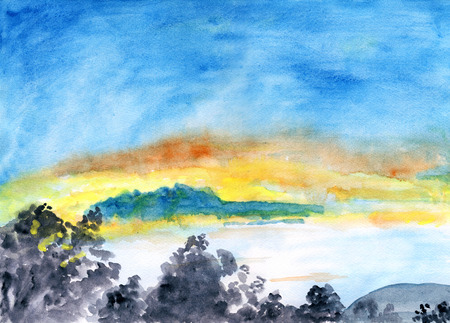 Burning sky, watercolor illustration