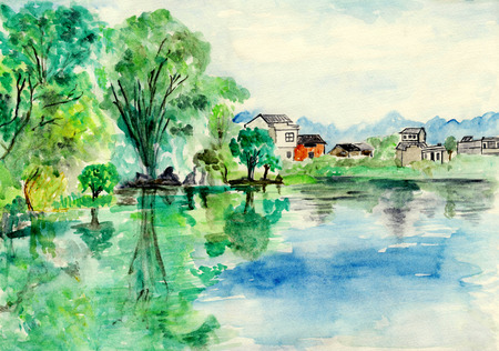 river bank: River bank house, watercolor illustration Stock Photo