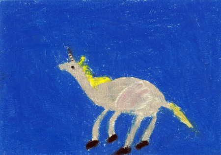 Unicorn, crayon illustration Stock Illustration - 35623104