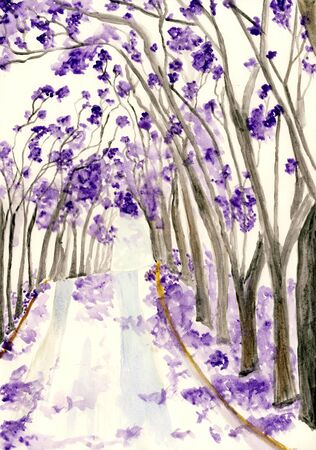 front or back yard: Tree with purple flowers, watercolor illustration